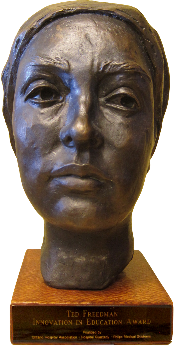 Photo: The Ted Freedman Award for Innovation in Education: a self-portrait in bronze of the artist as a patient recovering from brain surgery, by award-winning sculptor Amy Switzer.